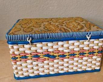 Vintage Woven and Tapestry Jewelry Box