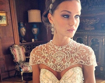 Boho wedding headpiece - Swarovski crystal - filigree ribbon headband - vintage bohemian - bridal headpiece - boho bride - boho glam
