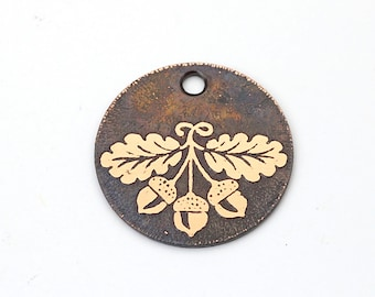 Copper oak leaves and acorns charm, small flat round handmade etched jewelry supply, 22mm