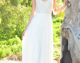 Amy- Boho wedding dress, lace wedding dress, beach wedding dress, wedding dress with sleeves