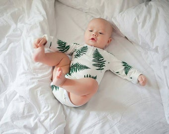 Baby bodysuit, baby onepiece, organic cotton, snapsuit, long sleeve bodysuit, Fern, baby boy bodysuit,  harem romper, baby clothes, creeper