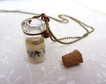 Message in a bottle,  Bottle pendant necklace, Hebrew hand- written message in a bottle, Personalized gift necklace