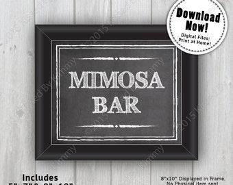 Chalkboard Sign - MIMOSA BAR Chalkboard Wedding Sign - Printable Drink Sign- 5x7 - 8x10 -Black White Chalkboard Drink Sign - Bridal Shower