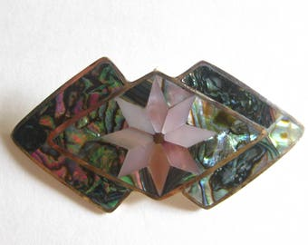 Abalone MOP Mexican Brooch Pendant Signed PedroS Flower Silver Deco Vintage