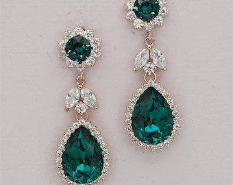 Emerald bridal Earrings Bridesmaid Gift Wedding Prom Pageant Party Swarovski teardrop emerald green rhinestone earrings Rose Gold and Silver