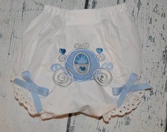 Personalized Cinderella Carriage Baby Bloomers Princess Diaper Cover