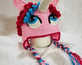 Unicorn Hat, Pony Hat, Crocheted Kids Hat, Crocheted Unicorn Hat, kids unicorn birthday, Pink Pony Hat, Purple Pony Hat