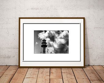 Sanibel Lighthouse-Florida Lighthouse-Black & White Print-Horizontal Photo-Lighthouse Photography-Coastal Decor-Cloud Photography-20x30