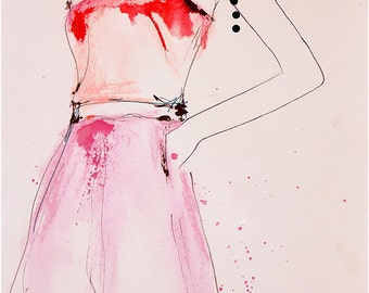 About A Pearl - Fashion Illustration Art Print, Figurative Art, Watercolor Painting by Leigh Viner