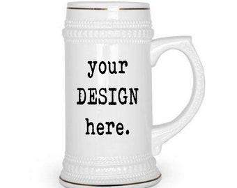 CUSTOM Beer stein, 22oz, Design your own, Family Crest, personalized beer, Logo, Retirement, Promotion, Boss, Wedding, Sorority, Fraternity