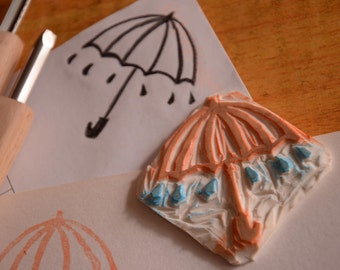 Umbrella- Unmounted Handcarved Rubber Stamp