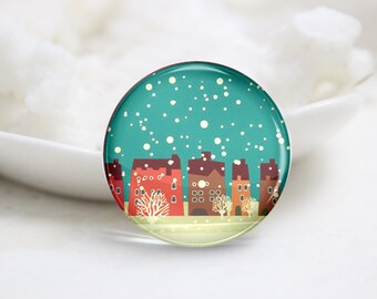 10mm 12mm 14mm 16mm 18mm 20mm 25mm 30mm Handmade Round Photo Glass Cabs Cover-Christmas (P2126)