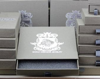 Anti-Tarnish Fine Luxury Textured Drawer Box + Leatherette Pull-Out Layered with Thick Inner Foam Padding / Large Silver Foil Lion Insignia