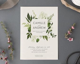 Invitación de la boda de bosque bosque conjunto, imprimible Suite, bodas naturaleza, bodas al aire libre de la boda invita, hojas verdes, jardín de boda, luz