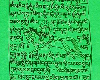 SALE - Green Tibetan Prayer Flag T-Shirt - color represents Water - PLUS EXTRA BONUS GIFT
