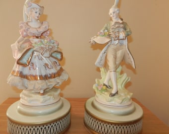 A Pair of French Porcelain Lamps - Circa 1950