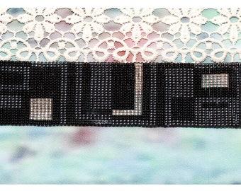 Black Beaded Bracelet - Geometric Motif Bracelet - Cuff Bracelet - Beaded Jewelry - Beaded Cuff Bracelet - Statement Bracelet - Gift For Her