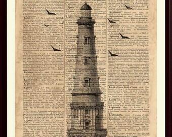 Lighthouse Print, Nautical Decor, Lighthouse Art, Lighthouse Poster, Coastal Decor, Coastal Artwork, Lighthouse Decor, Beach Cottage Decor