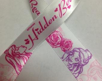 "7/8"" DISNEY RIBBON - Ribbon with Disney Princesses - 3 yards (9 feet spool) -  Princess Ribbon with the words""Hidden Beauty"""