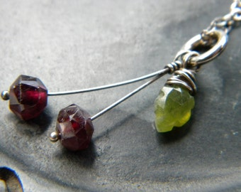 Sweet Cherries necklace - emerald green vesuvianite leaf and deep red garnet - sterling silver handmade jewelry jewel tones