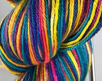 Ready to ship, 100g, Snow Dyed Yarn, Hand Dyed Yarn, Silk:Merino Yarn, Fingering/Sock Yarn, Bright Rainbow Variegated Yarn, Superwash Yarn