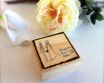 Clearance Ring Bearer Pillow Box Alternative Rustic Wood Box With Happily Ever After Bride Groom Image Wooden Ring Bearer Wedding Rings
