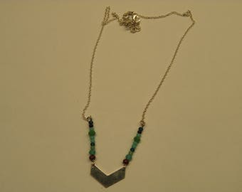 Crew neck silver chevron and glass beads