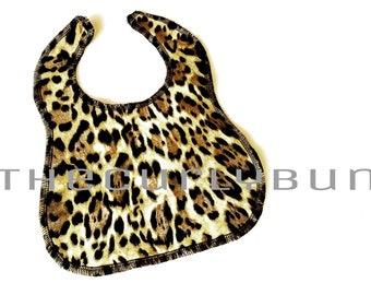 Leopard Print Girls Baby Bib