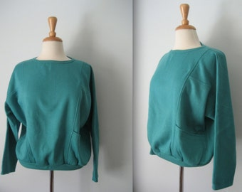 Vintage 80s emerald green wind cheater - wincheater 1980s jumper - with pockets - size 16