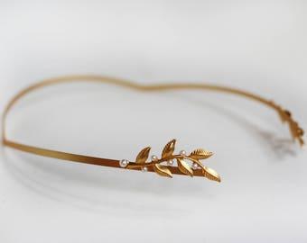 Delicate Twigs and Pearls Greek Goddess Crown, Backwards Headband, Back Headband, Bridal Hair Accessories, Rear Headband, Grecian Jewelry