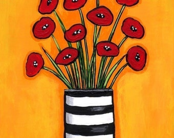Red Poppies in Striped Vase - Print Shelagh Duffett