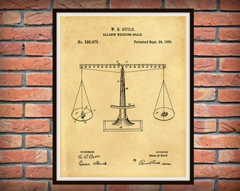 Vintage 1885 Balancing Scale Patent - Scales of Justice Art Print - Poster- Lawyer - Judge - Court - Poster - Wall Art - Judicial - Lawyer