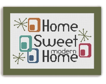 HOME SWEET HOME -Mid Century Modern Counted Cross Stitch Pattern - pdf instant download