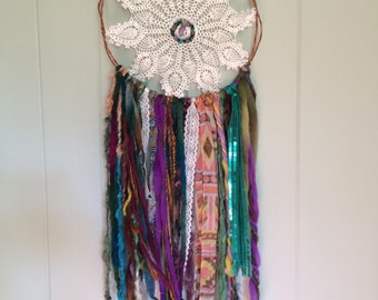 Dream Catcher with Amethyst and colorful threads