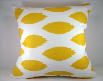 Yellow Ikat Chipper Decorative Accent Modern Pillow Ikat Pillow 18x18