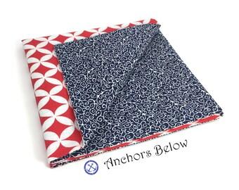 Red and Blue Pocket Square, Blue Floral Pocket Square, Red Diamond Pocket Square, Double Sided Pocket Square, Men's Accessories, Men's Wear