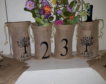 Mason Jar, Burlap, Printed Burlap Bag, Table Number, Jar wrap, Monogram, Custom Burlap Bag,  Centerpiece, Rustic Wedding set of 12