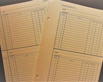 Vintage Ledger Pages Pack with Vintage Map Wrap, 25 Yellow Lined Papers