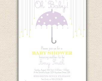 Oh Baby Shower Invitation, Umbrella Shower Invite, Custom Digital Invitation