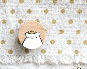 Hand-Painted Beary Royal Bear (White) - Wooden Necklace Pin-back Brooch