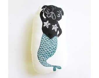 Pug Dog Mermaid Shaped Animal Pillow. Merpug. Hand woodblock printed. Choose any colors. Made to order.