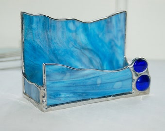 Asymmetrical Business Card Holder Shades of Blue Stained Glass Hand Made One of a Kind Ready to Ship Gift Perfect Office Accessory