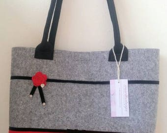 FELT BAG grey and Red