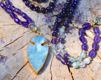 Amethyst + Fluorite Mala Necklace with Gold-Edged Agate Arrowhead