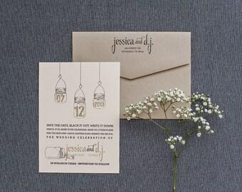 Mason Jar Wedding Invitation Save the Date, Rustic Save the Date, Kraft Save the Date, Blush Pink Save the Date - Jessica and DJ- Custom