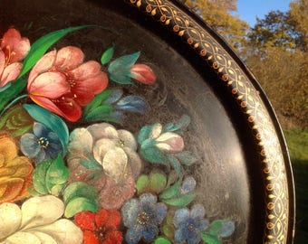 Vintage Painted Toleware Tray
