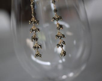 Pyrite and gold dangly earrings