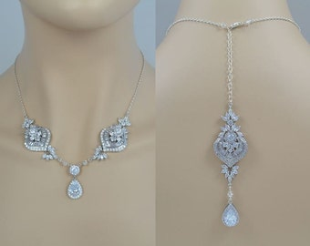Bridal Cubic Zirconia Crystal Necklace, Wedding Jewelry, Silver Tone, Rose Gold Tone, Drop, Backdrop, Sammy - Will Ship in 1-3 Business Days