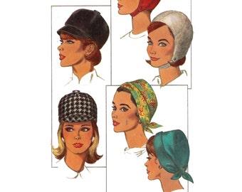 Simplicity 6191, 60s sewing pattern, women's hat pattern, jockey hat, headband pattern, helmet pattern