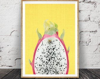 Tropical Fruit Print, Dragon Fruit Wall Art, Printable Large Poster, Digital Download, Kitchen Decor, Pink and Yellow, Modern Minimalist